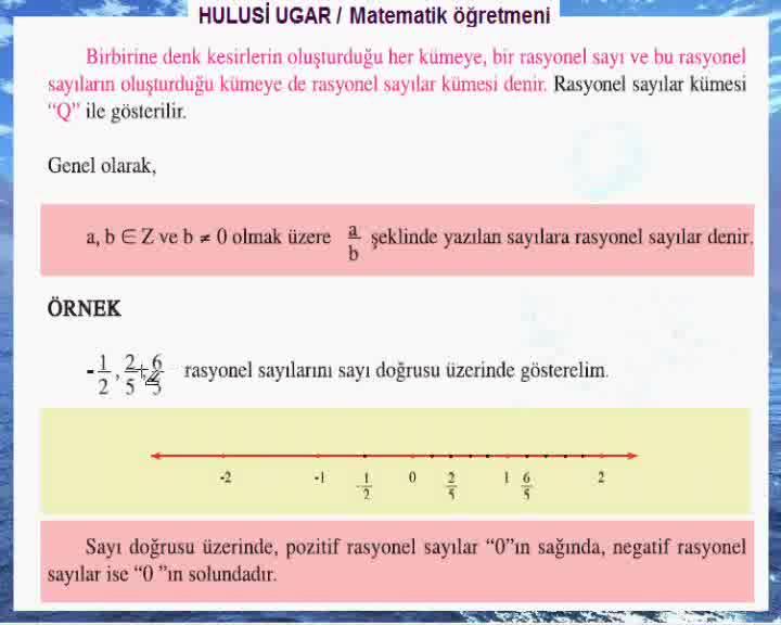 7sınıf Matematik Rasyonel Sayılar Hulusi Ugar Izle Video